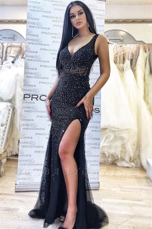 Appliques Straps Side Slit Black Sexy Mermaid Prom Dresses | Evening Dresses in Black
