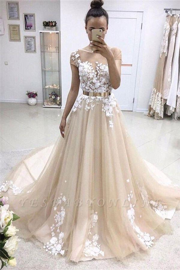 Gorgeous Jewel Appliques  A-Line Prom Dresses