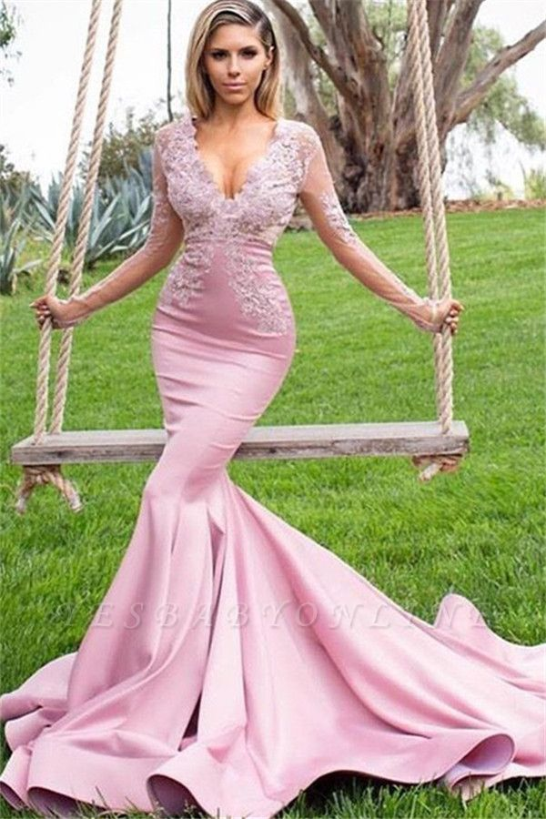 Pink Appliques V-Neck Long Sleeves Sexy Mermaid Prom Dresses