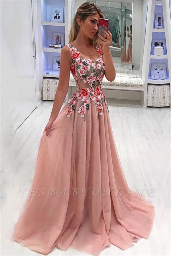 Flower Appliques Straps Simple Prom Dresses | A-Line Sleeveless Evening Dresses
