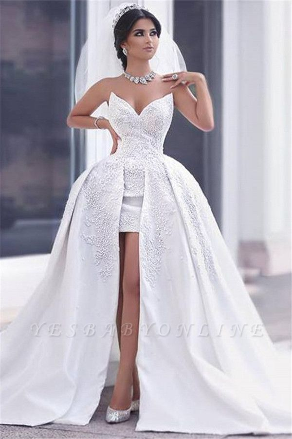 Lace Puffy Strapless Overskirt Glamorous Appliques Ball-gown Wedding Dress