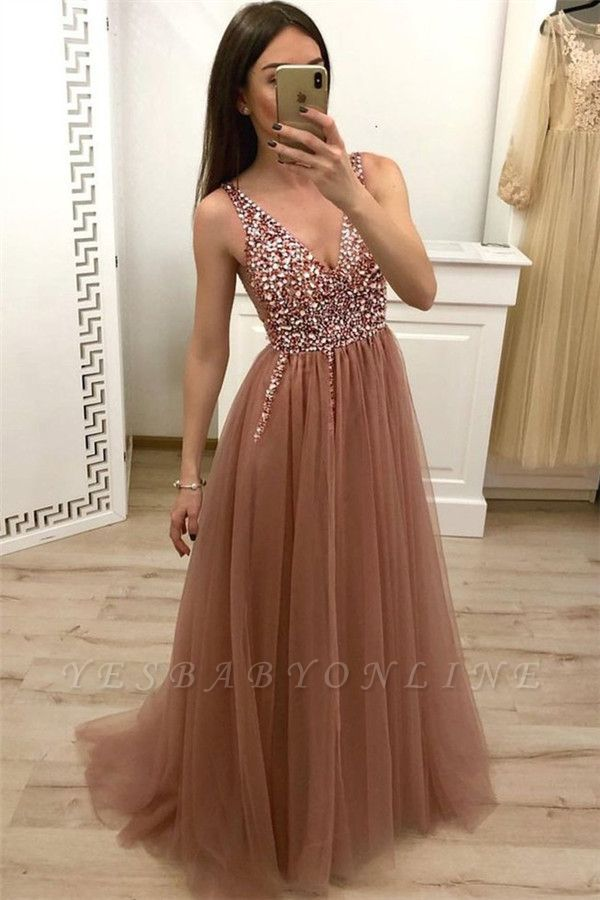 Straps V-Neck Appliques A-Line Prom Dresses