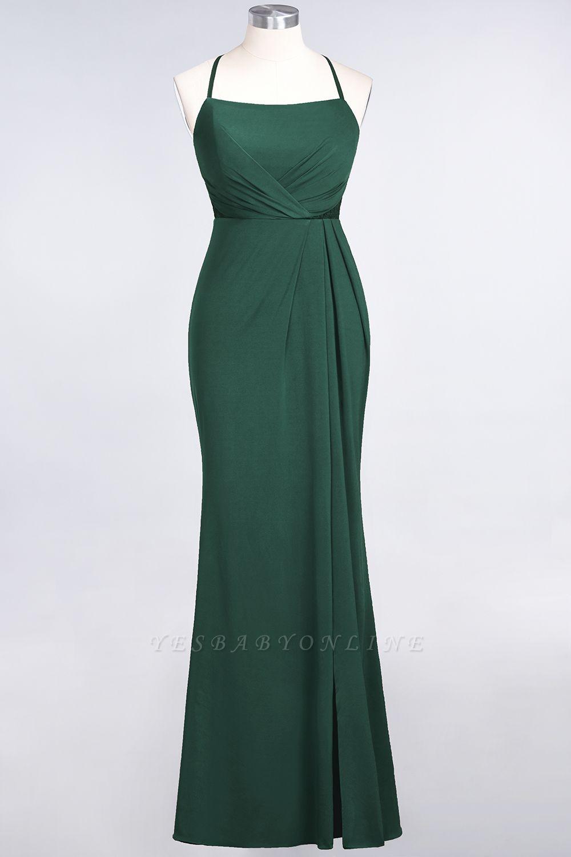 Mermaid Spaghetti-Straps Sleeveless Floor-Length spandex Lace Bridesmaid Dress with Ruffle