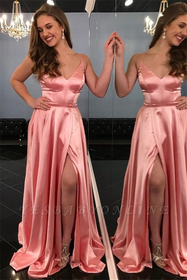 Pink Spaghetti-Straps Side Slit A-Line Prom Dresses