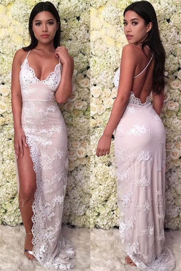 Glamorous Spaghetti-Straps Lace Appliques Backless Sexy Mermaid Prom Dresses