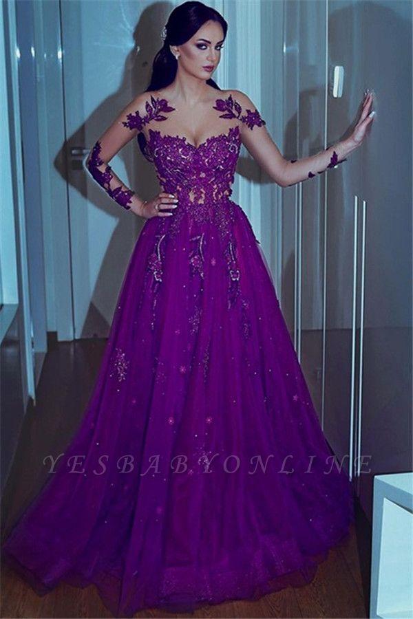 Gorgeous Purple Lace Appliques Long Sleeves  A-Line Prom Dresses