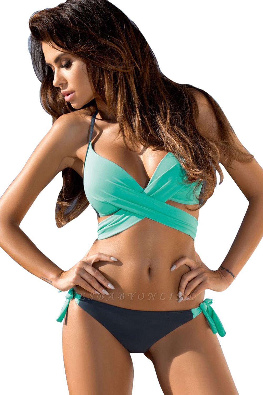 Halter Criss-cross Two-piece Pads Bikini Sets