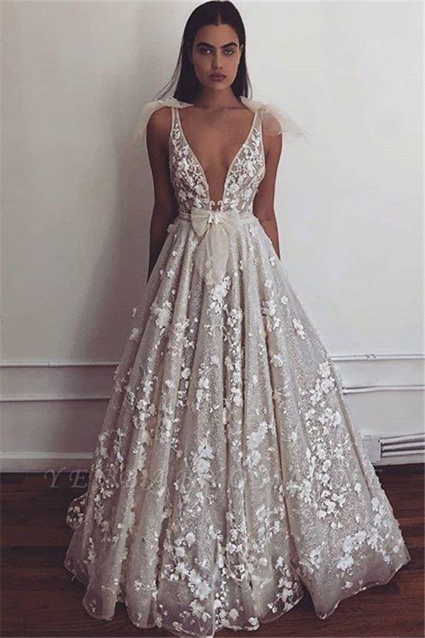 Gorgeous Straps Appliques V-Neck Princess A-Line Prom Dresses