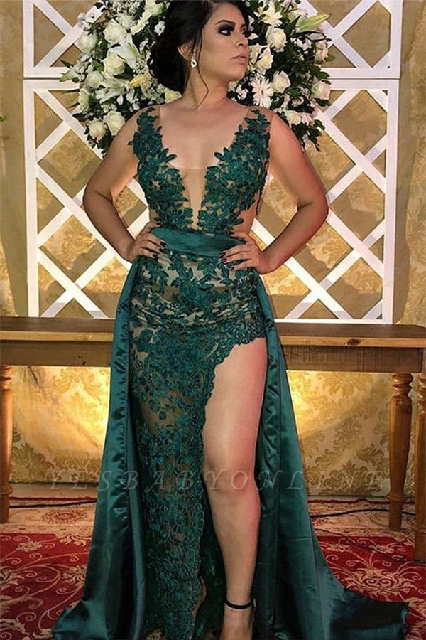 Green Straps Appliques Side Slit A-Line Prom Dress