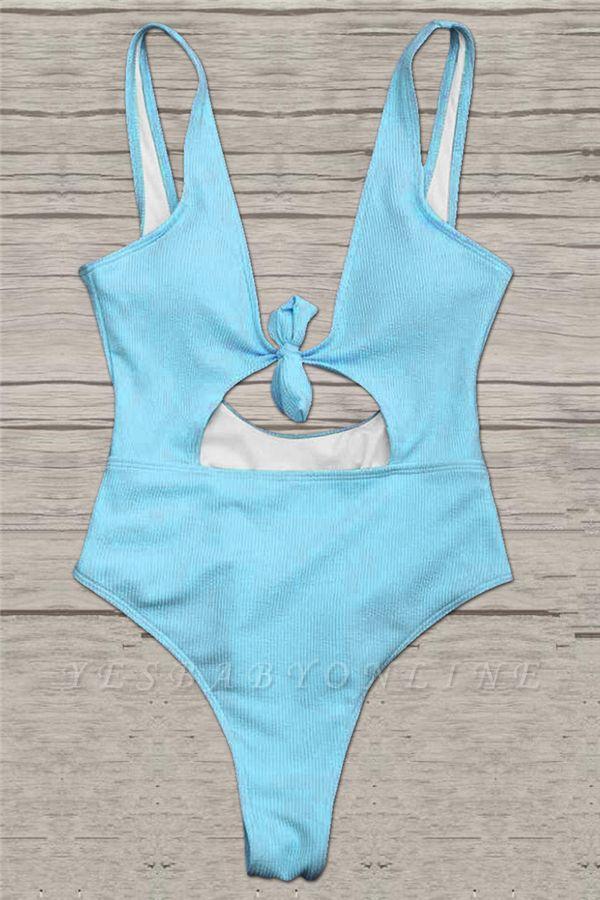 Plain One-piece Knot Keyhole Swimwears