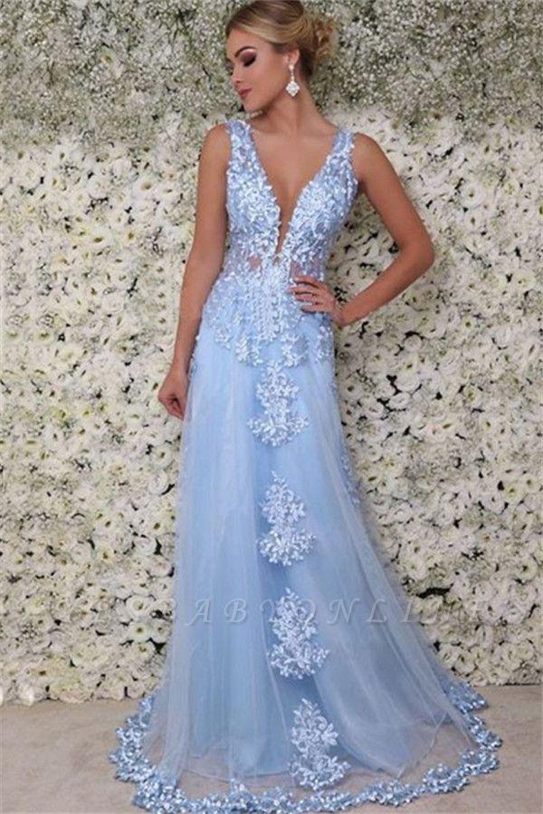 Blue Straps Appliques  A-Line Prom Dresses