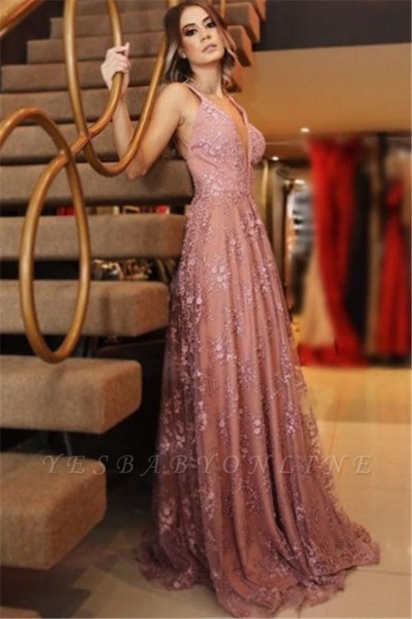 Sexy Spaghetti-Strpas Appliques Backless A-Line Prom Dresses