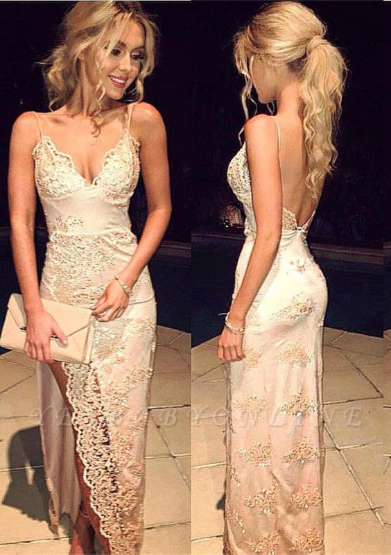 2019 Champagne Prom Dresses Side Slit Lace Spaghettis Straps Open Back Sheath Evening Gowns