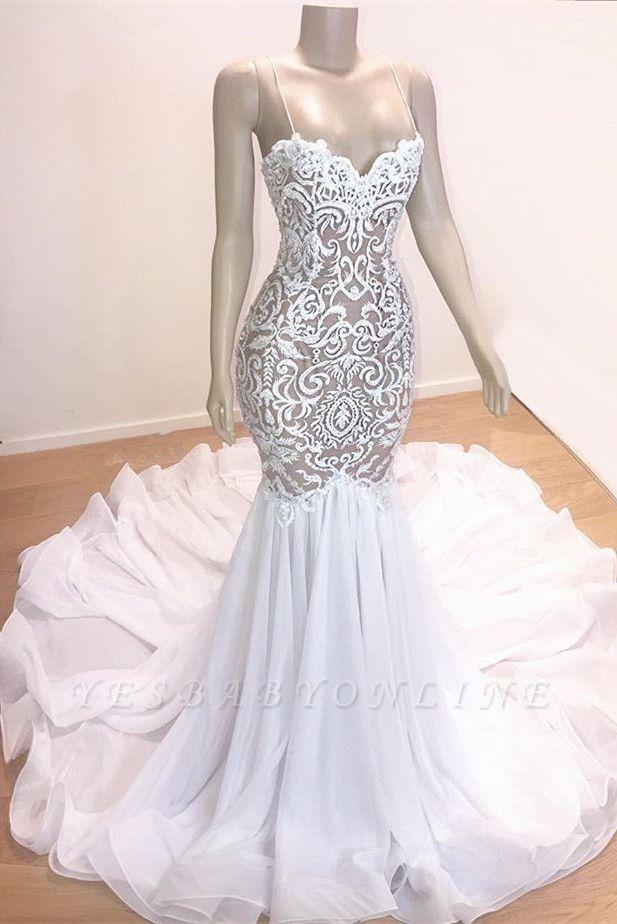 Gorgeous Applique Spaghetti-Straps Sexy Mermaid Prom Dress