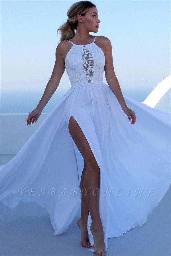 Gorgeous Appliques Halter Side Slit A-Line Prom Dresses