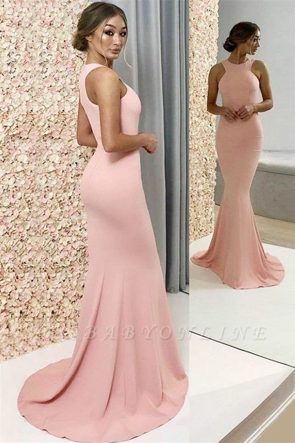 2019 Newly Pink Halter Sexy Mermaid Prom Dresses BC2709