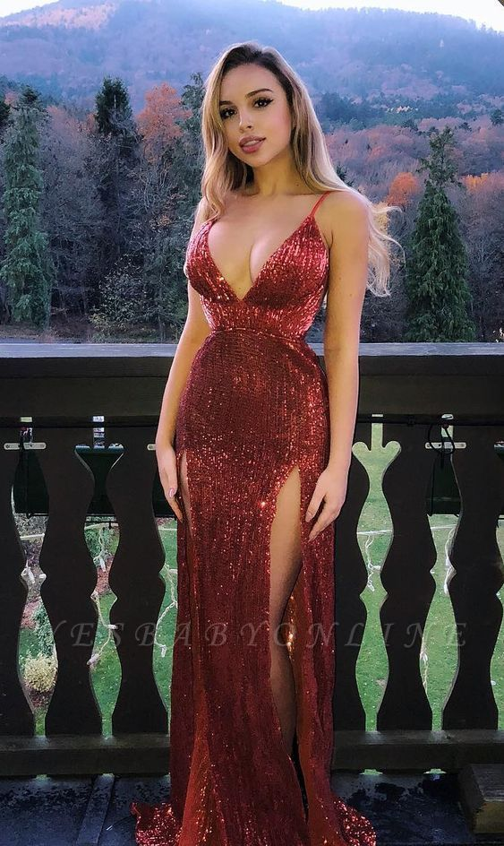 Glamorous Sequins Spaghetti-Straps V-Neck Side Slit Sexy Mermaid Prom Dresses
