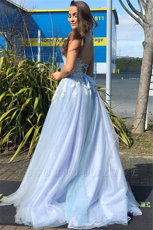 Gorgeous Straps Lace Appliques  A-Line Prom Dress