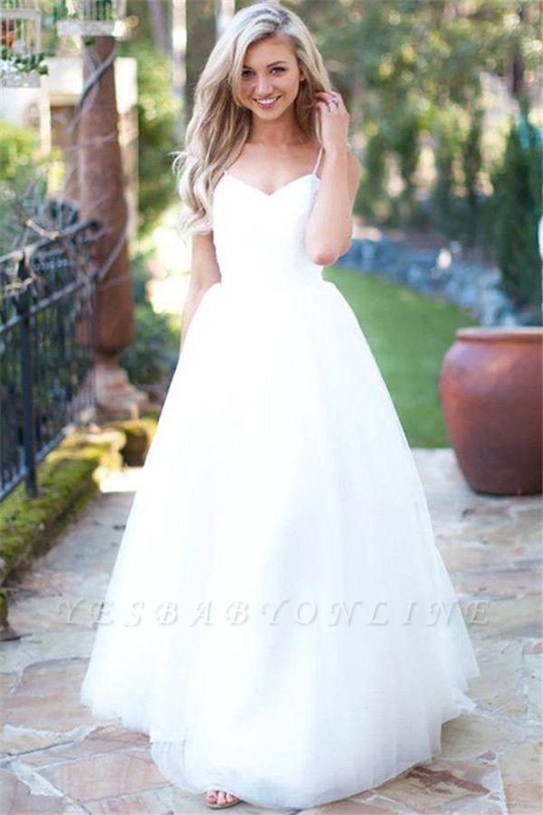 Elegant Spaghetti-Strpas Tulle A-Line Wedding Dresses