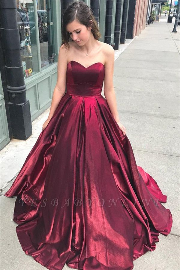 Glamorous Burgundy Sweetheart A-Line Prom Dresses