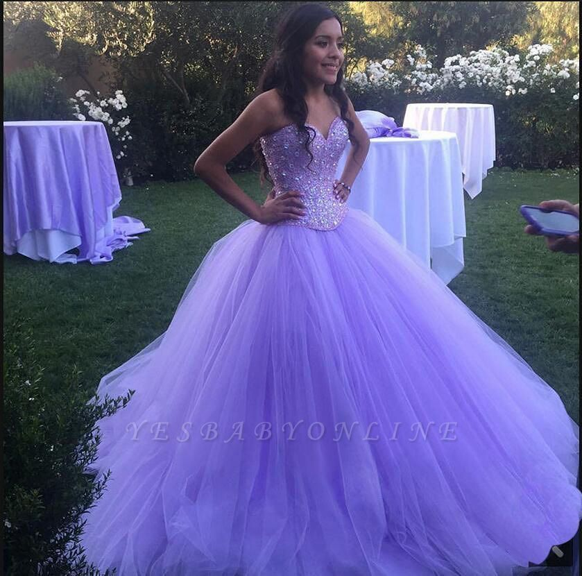 Charming Purple Sweetheart Ball Gown Beadings Quince Dresses | Pretty Sweet 16 Dresses Long