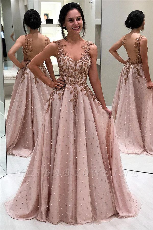 Elegant A-Line Appliques Beaded Backless Prom Dresses