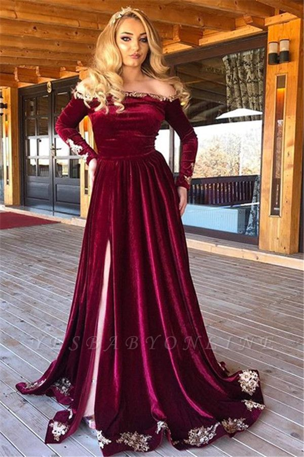 Elegant Off-The-Shoulder Burgundy Velvet Evening Dresses