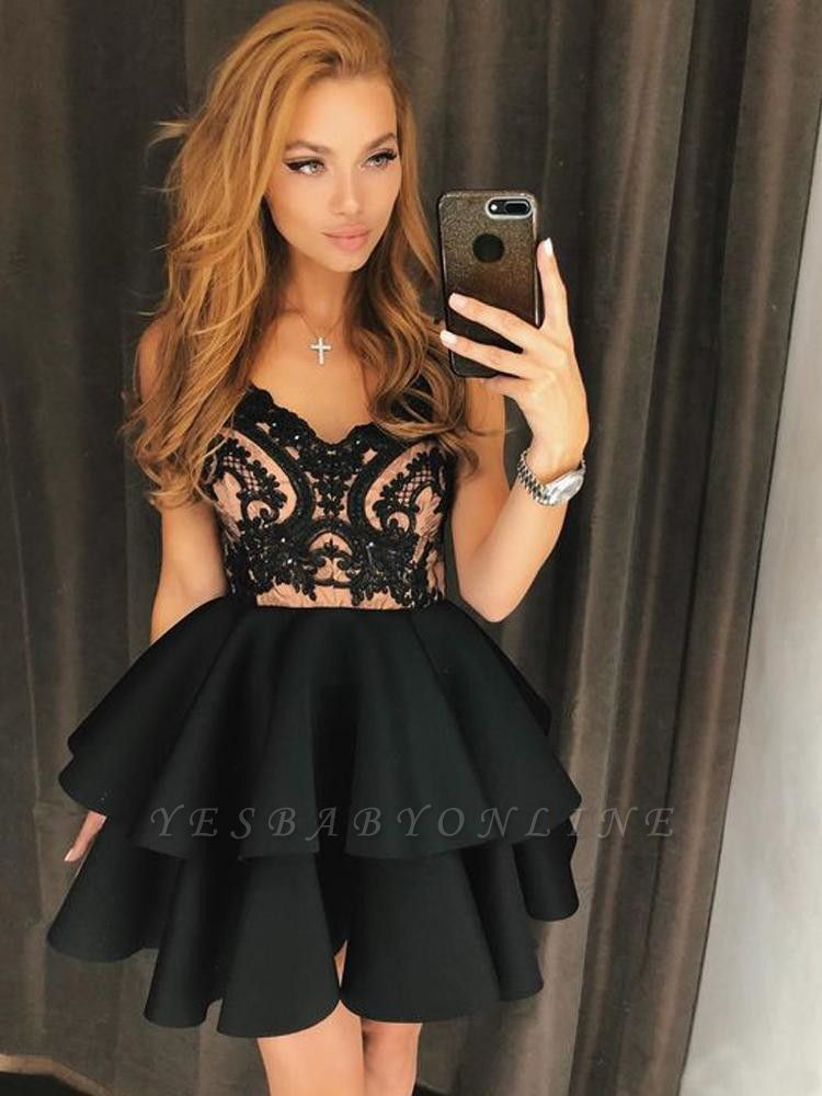 Straps A-Line Lace Sexy Black Homecoming Dress | Black Short Prom Dresses