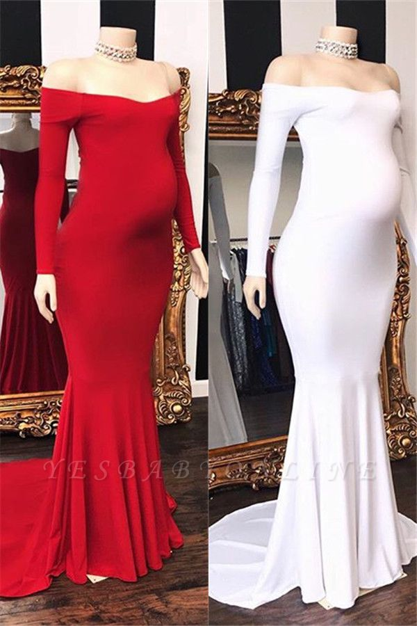Charming Off Shoulder Long Sleeves Pregnant Mermaid Prom Dresses
