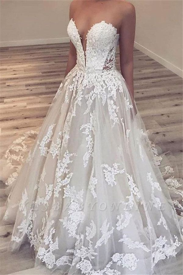 Chic A-line V-neck Floor Length Wedding Dresses with Lace Appliques