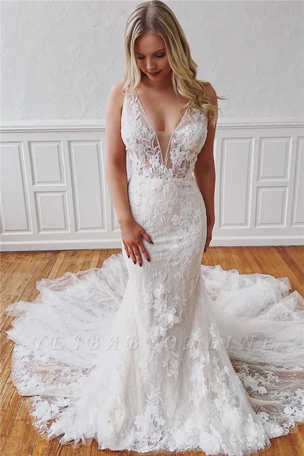 Glamorous Straps V-Neck Lace Mermaid Detachable Wedding Dresses