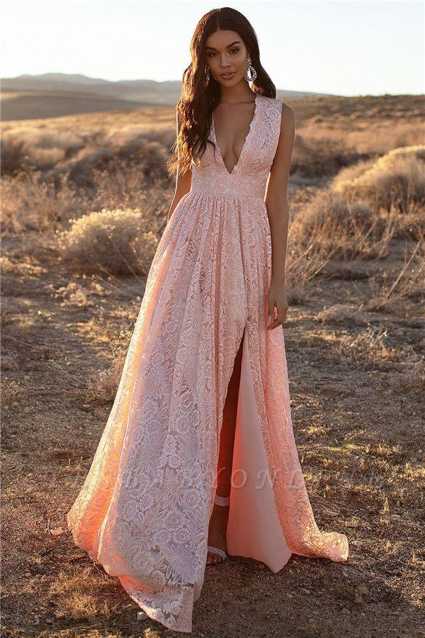 Pink Straps V-Neck Lace Side-Slit A-Line Evening Dresses