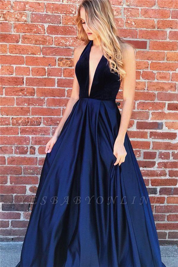 Sexy A-line Deep V-neck Navy Blue Prom Dresses