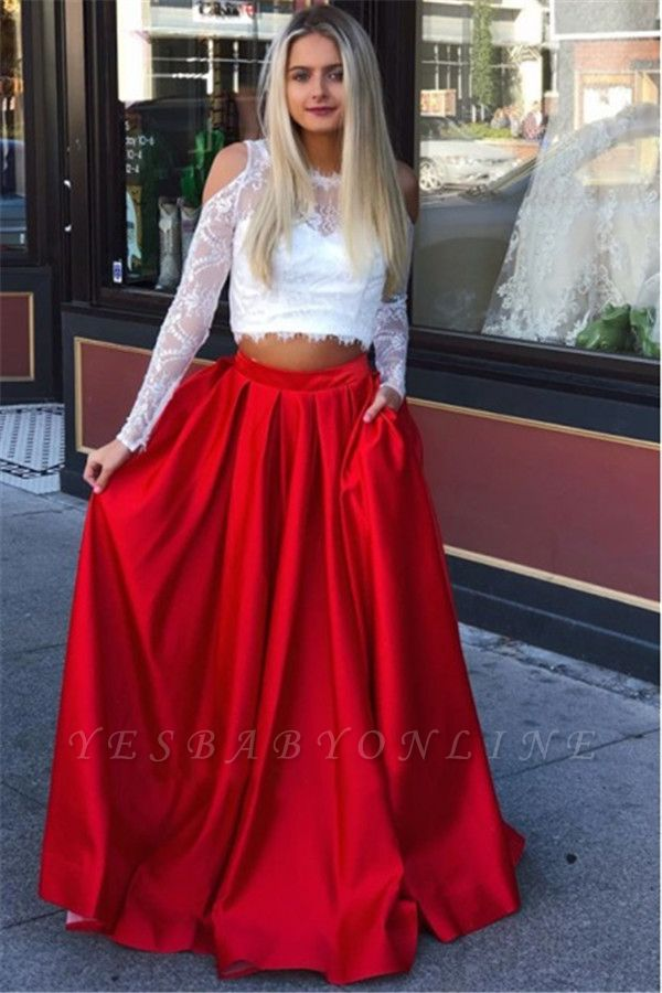 Two Piece Long Sleeves White and Red Prom Dresses with Lace