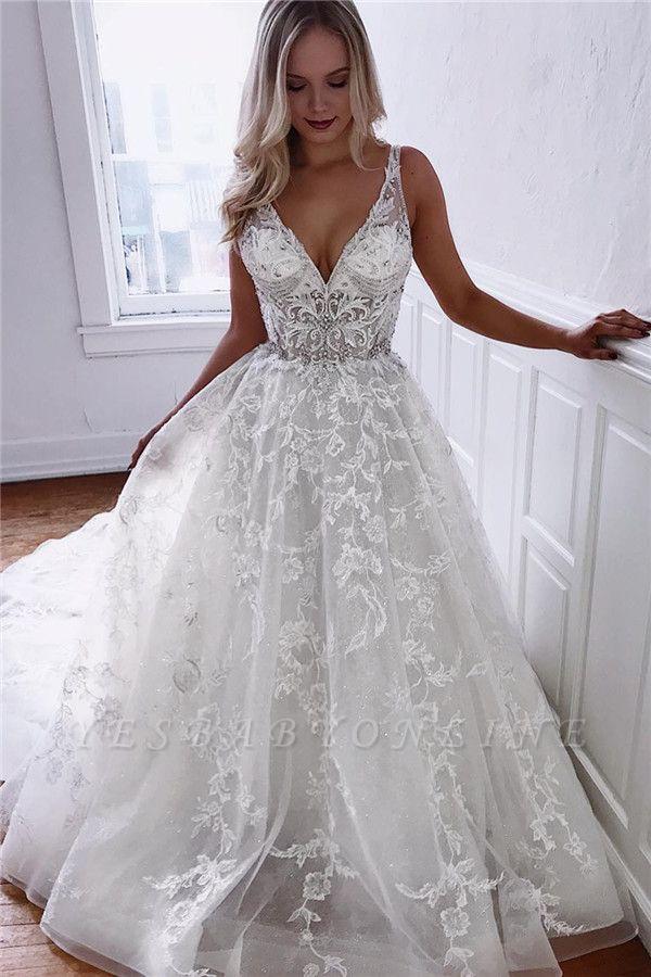 Glamorous A-line Spaghetti Straps V-Neck Lace Wedding Dresses