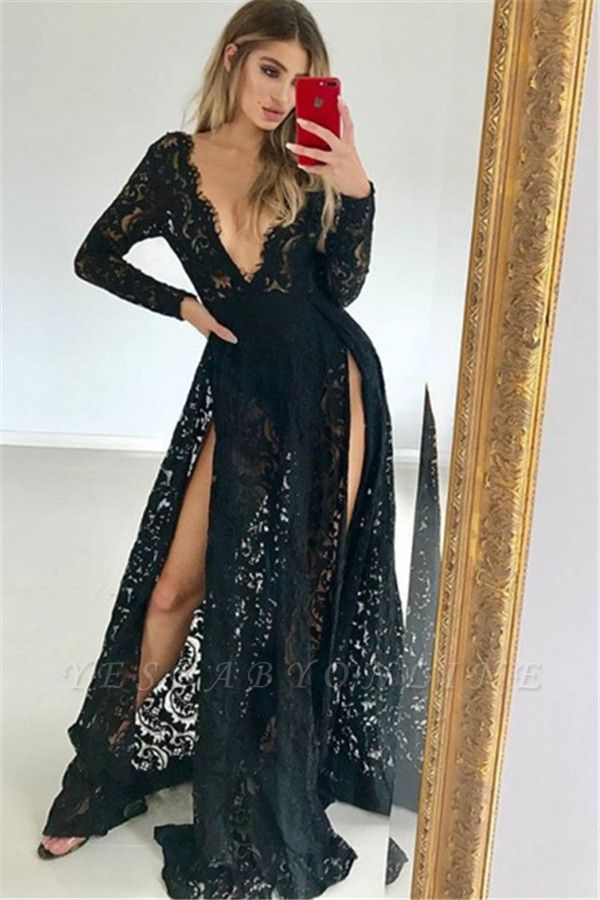 Seductive V-Neck Lone-Sleeves Black Lace Prom Dresses with Two Leg Slits