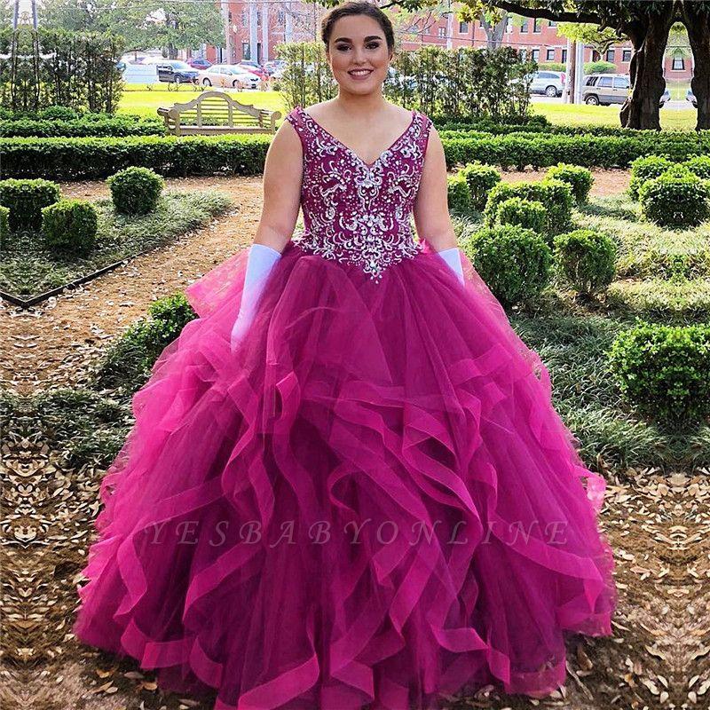 Marvelous V-neck Beadings Ball Gown Sweet 16 Dresses | Ruffles Quinceanera Dresses Long