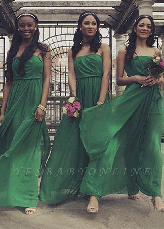 Sexy Chiffon Strapless Sweep-Train Sleeveless Front-Split A-line Bridesmaid Dress