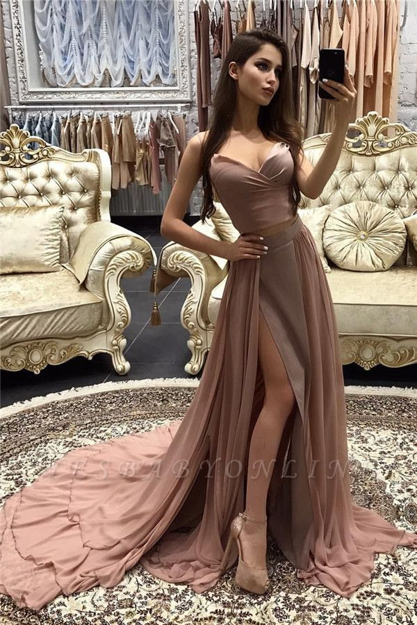 Sexy Long A-line layers Straps Side-Slit Prom Dresses