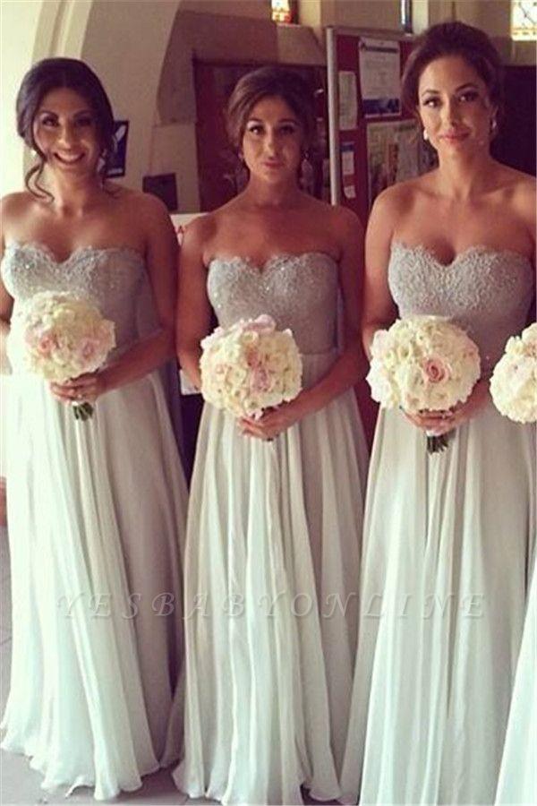 Chiffon A-line Floor-Length Mint Bridesmaid Dresses