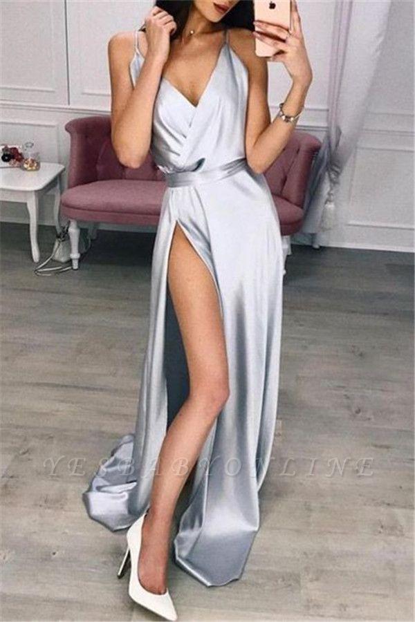 Sexy Spaghetti-Straps V-Neck Prom Dresses with Side Slit