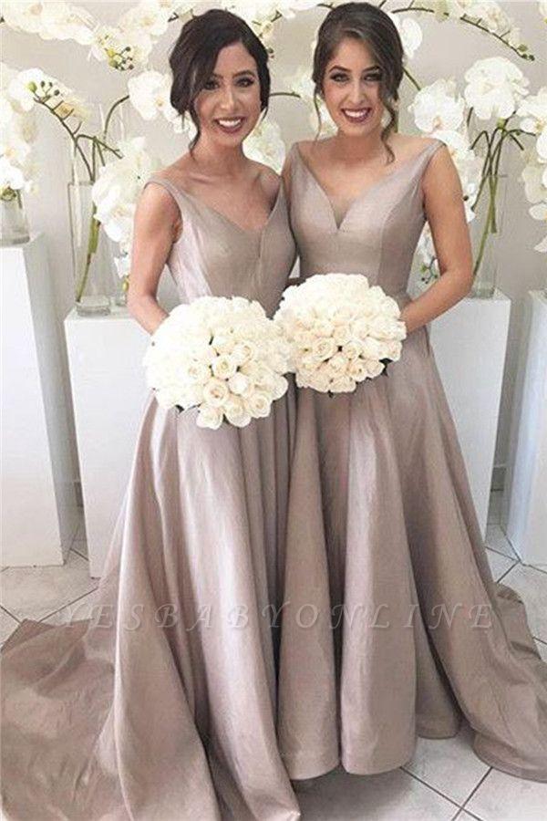 Sheer-Tulle V-neck Open-Back Simple Stretch-Satin Sleeveless Bridesmaid Dress