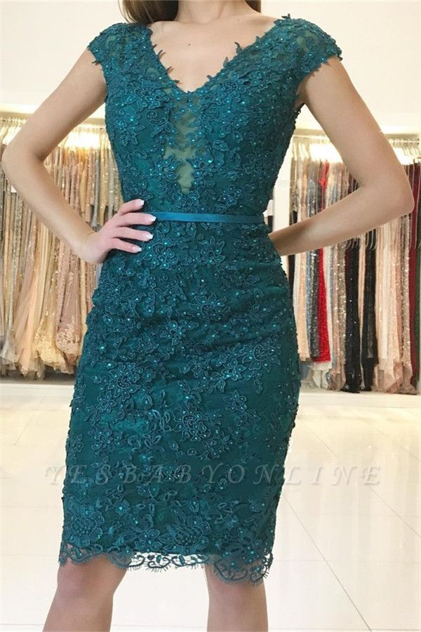 Dark Green Straps Lace Appliques Short Home-Coming Dresses