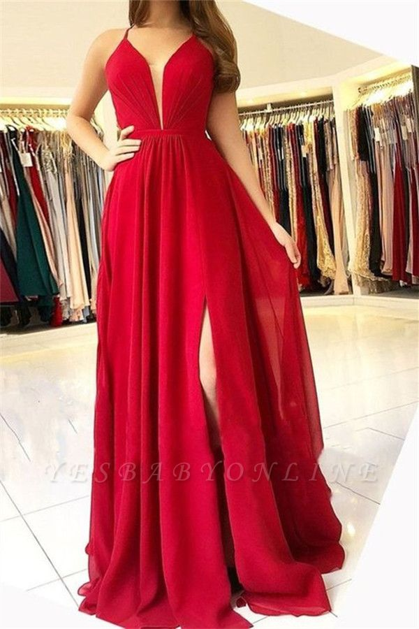Sexy A-Line Sleeveless Open-Back Side-Slit Prom Dresses