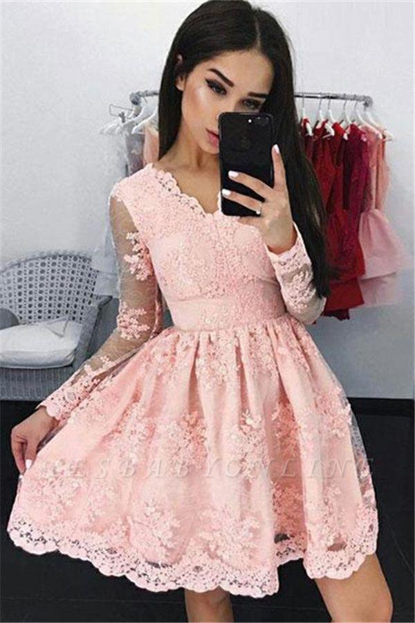 Pink Long Sleeves Homecoming Dresses Lace Elegant Short Cocktail Dresses