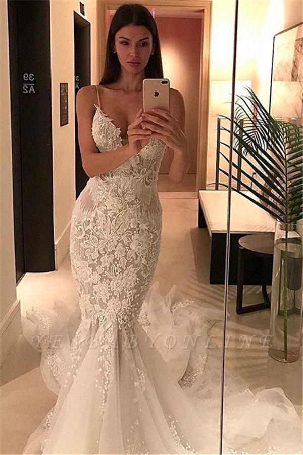 Tulle Charming Spaghetti-Strap Lace Button Zipper Mermaid Wedding Dress