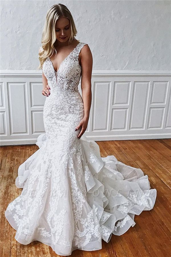 Glamorous Straps Ruffled Lace Mermaid Wedding Dresses