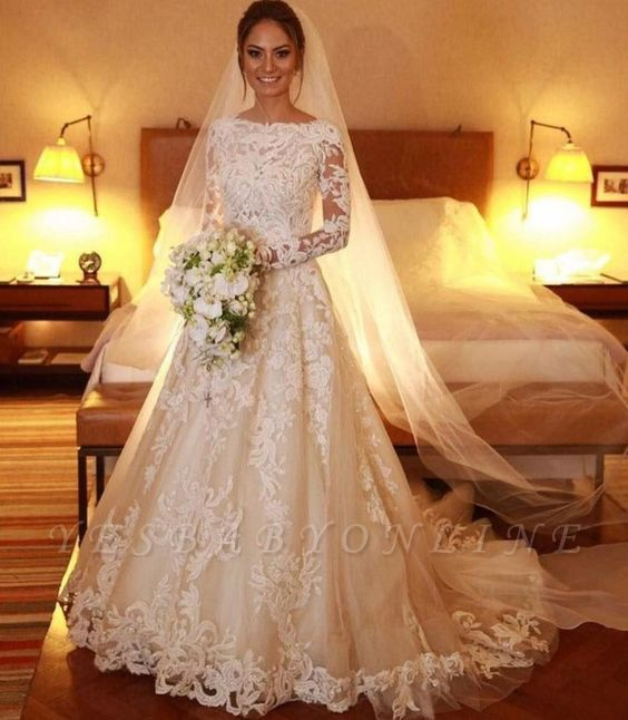Elegant A-Line Long Sleeve Lace Wedding Dresses