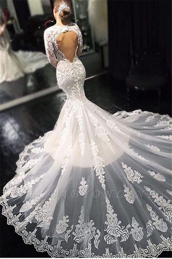 Glamorous Lace Appliques Long Sleeves Mermaid Wedding Dresses