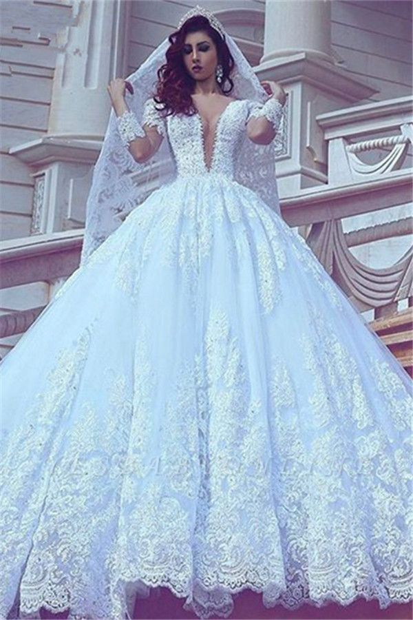 Long Sleeves Lace Ball-Gown Stylish Court-Train V-neck Wedding Dress